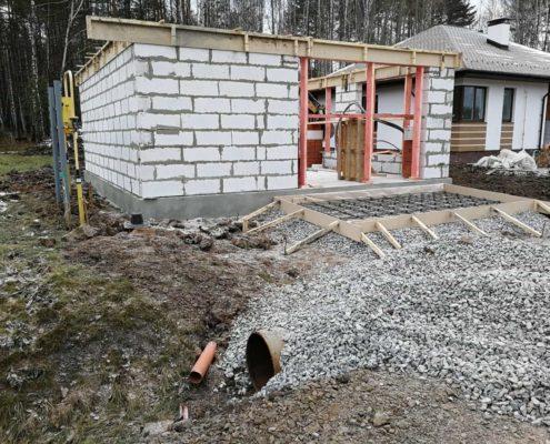 строительство второго этажа Гараж из пеноблоков