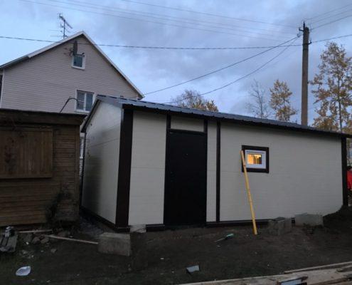 гараж из сэндвич-панелей с подключением электричества