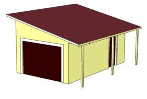 односкатная крыша Гараж с мансардой