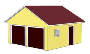 проект гаража на 2 машины с двухскатной крышей